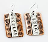 RARE $300 Retail Tag Handmade Authentic Made By Robert Little Navajo Pure Silver Copper Native American Earrings