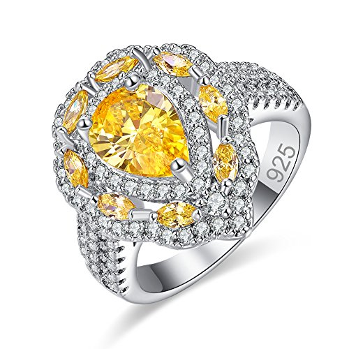 Veunora Gorgeous 925 Sterling Silver 7x10mm Citrine Filled Cluster Cocktail Ring for Women Size 6 (Gold Citrine Leaf)