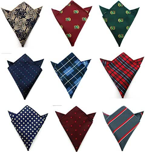 Weishang Men's Jacquard Pocket Squares Handkerchiefs 9pcs/lot Multicolor