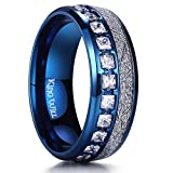 King Will Meteor 8mm Blue Dome Titanium Ring Imitated Meteorite Inlay Wedding Band Comfort Fit 8.5