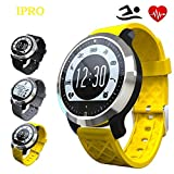 IPRO 100% Waterproof Sports Watch with Heart Rate Monitor,Outdoor Swimming Wristbands IOS&Android Smartwatch Garmin Exercise Pedometer Sleep Monitor Wristwatch w/ Twitter/Facebook Push for Women/Men (Yellow)