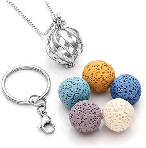 JOVIVI Twist Ball Locket Essential Oil Diffuser Necklace + 5 Lava Rock Stone Beads + Stainless Steel Key Ring Keychain Anxiety Stress Gifts