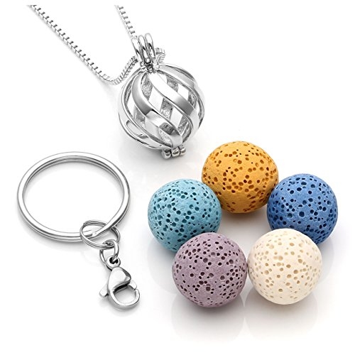 JOVIVI Twist Ball Locket Essential Oil Diffuser Necklace + 5 Lava Rock Stone Beads + Stainless Steel Key Ring Keychain Anxiety Stress Gifts]()