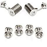 Cuff-Daddy Silver Clear Swarovski Barrel Crystal Cufflinks and Studs Formal Set with Presentation Box