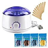 Wax Warmer Machine,KUMEDA Electric Wax Heater Hair Removal Kit with 4 Flavors Hard Wax Beans(3.5 oz A Bag) + 10 Wax Applicator Sticks For Sale