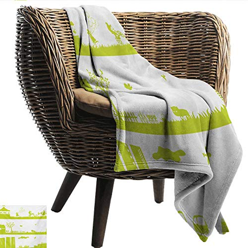 (EwaskyOnline Green and White Baby Blanket Monochrome Fairground Countryside and Urban Area Silhouette Pattern Recliner Throw,Couch Throw, Couch wrap 40