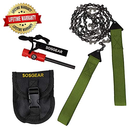 SOS Gear Pocket Chainsaw and Fire Starter - Survival Hand Saw, , Firestarter with Built in Compass & Whistle, Embroidered Pouch for Camping & Backpacking - Green Straps, 24'' Chain by SOSGEAR (Image #9)