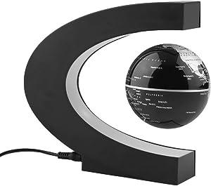 Qich Funny C shape Decoration Magnetic Levitation Floating Globe World Map 3 inch anti gravity globe LED Light Christmas children novelty Gift Xmas Santa Decor Home cgh