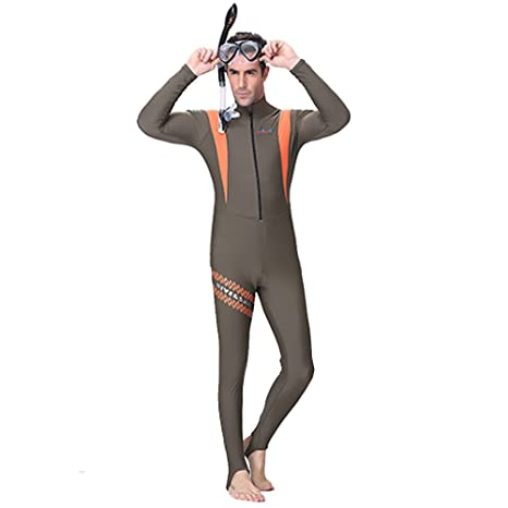 35b7bd5db5 NEPPT Mens Scuba Swimsuit Diving Full Body Wetsuit Long Sleeve Neoprene  Front Zip One Piece Swimming