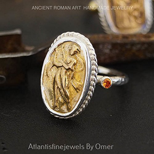 Hammered Handmade Orange Topaz Coin Ring By Omer Sterling Silver Turkish Jewelry