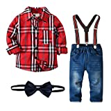 Nwada Little Boys Clothes Sets Bow Ties Shirts + Suspenders Pants Denim Jeans Toddler Boy Gentleman Outfits Suits Red Plaid 3-4.5 Years