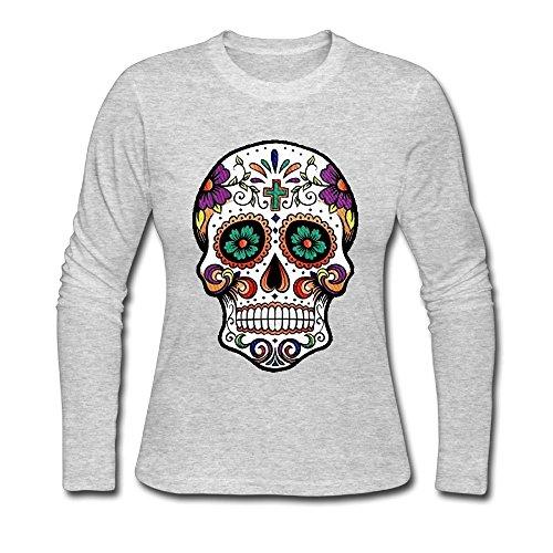 Qear Flower Colorfu Skull Women's Long-sleeved Round Neck T-shirts Gray XXL (Skull Long Sleeved)