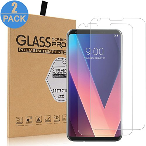 LG V30 Screen Protector, ZAOX [9H Hardness] [Crystal Clear]  [Scratch-Resistant] Premium Tempered Glass Screen Protector for LG V30 (2  Pack)