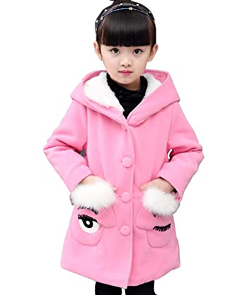 3cf9f6f3a7ded AnKoee Little Girls Winter Hooded Cold Protection Coat Autumn Warm Princess  Jacket Outwear (Pink