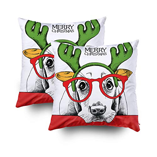 GROOTEY Decorative Cotton Square Set of 2 Pillow Case Covers with Zippered Closing for Home Sofa Decor Size 18X18Inch Costom Pillowcse Throw Cover Cushion,Halloween Christmas Poster a Dog Basset for $<!--$18.55-->