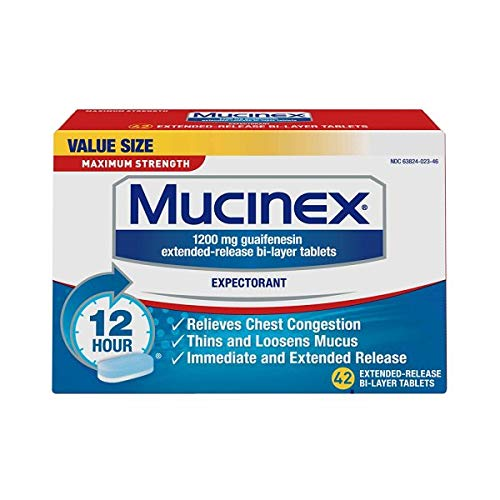 Mucinex Maximum Strength 12-Hour Chest Congestion Expectorant Tablets, 42 Count (Pack of -