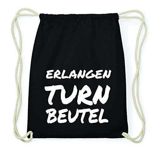 JOllify ERLANGEN Hipster Turnbeutel Tasche Rucksack aus Baumwolle - Farbe: schwarz Design: Turnbeutel