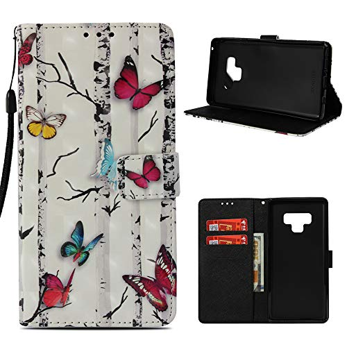 Mavis's Diary Compatible Samsung Galaxy Note 9 Wallet Case, Fashion Premium PU Leather Wallet 3D Cute Design Painted Pattern Floral Flip Folio Case with Soft TPU Inner Cover - Colorful Butterfly