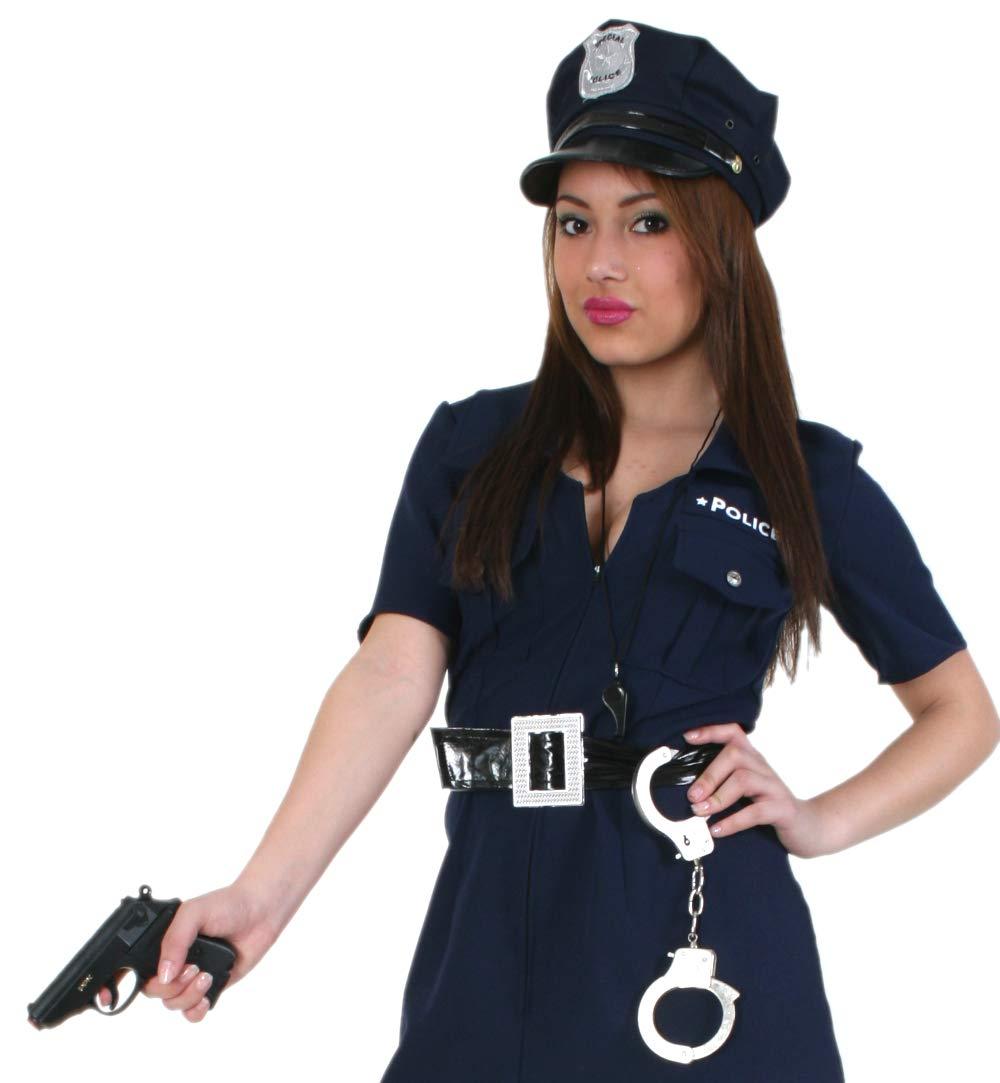 KarnevalsTeufel Metall-Handschellen in Silber mit Schl/üssel Polizei H/äftling Sheriff Karneval Accessoire