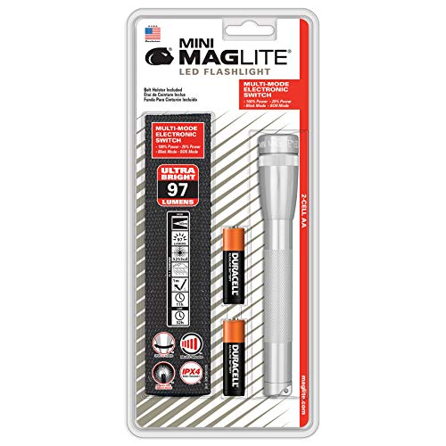 Maglite Mini LED 2-Cell AA Flashlight with Holster, Silver