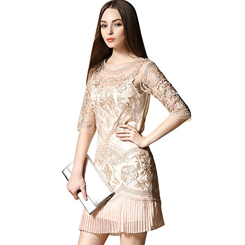 bestickter transparenten Cocktail Party Ball Kleid Spitze Damen dezzal Tüll Floral Aprikose wE4WqXg