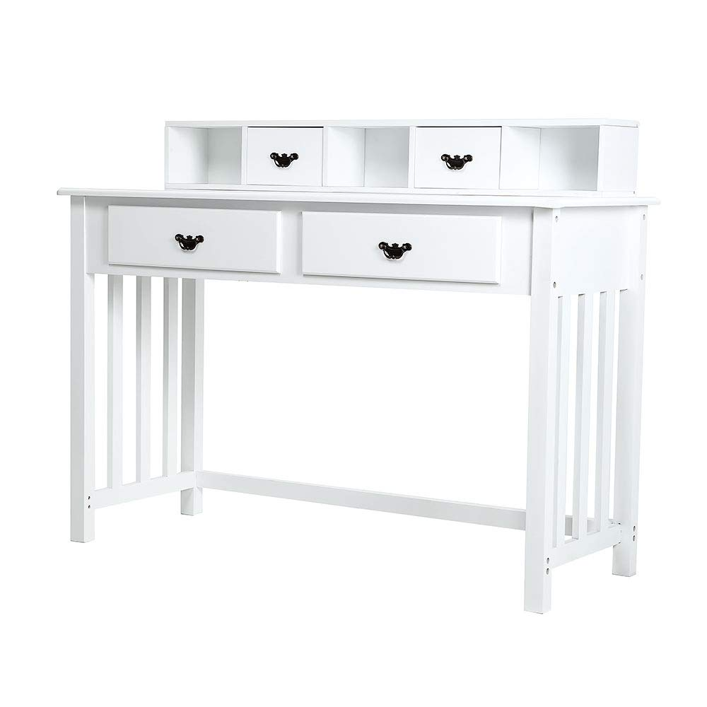 Trustiwood White Computer Desk Home Office Furniture Writing Desk Vanity Table Makeup Dressing Desk Modern Home Mission Desk 4 Drawers 3 Removable Organizers Easy Assembly