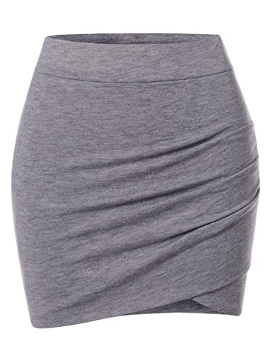 Check Mini Skirt - NEARKIN (NKNKSSK64) Womens Stretchy Waistband Shirring Fitted Mini Skirt GRAY US XXS(Tag size XS)