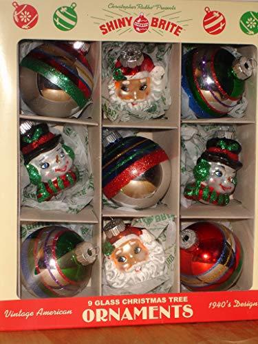 Brite Glitter - Shiny Brite Glass Christmas Ornaments Set of 9 Metallic and Glitter