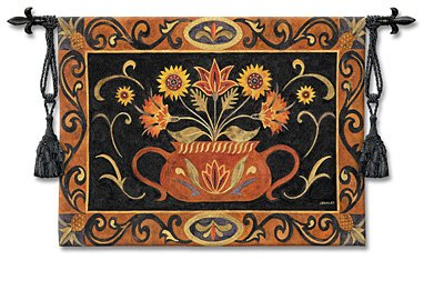 - Potted Folk Floral Wall Tapestry