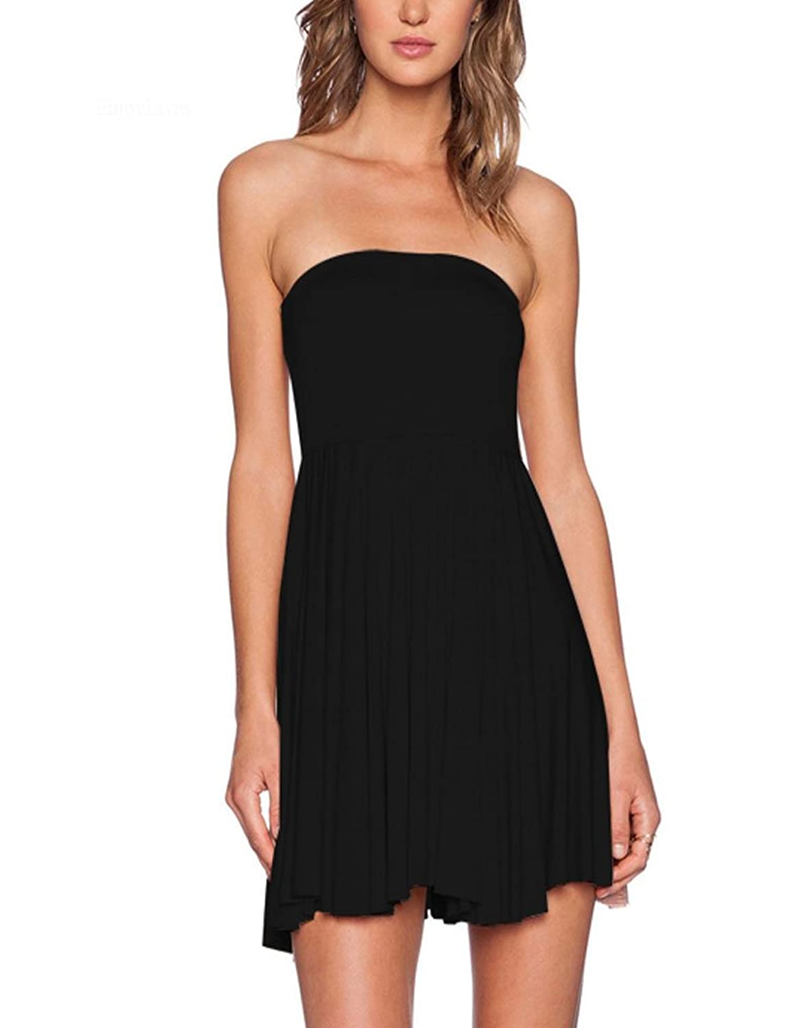 Locry Women鈥檚 Summer Sexy Solid Stretchy Pleated Mini Beach Tube Dress
