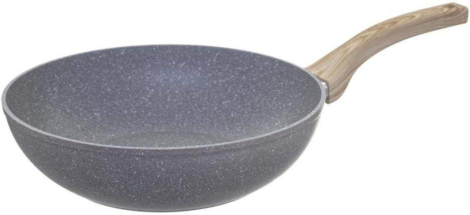 Secret de Gourmet Wok D 28 cm en Aluminium Forg/é aspect pierre Ligne Nature Tous feux