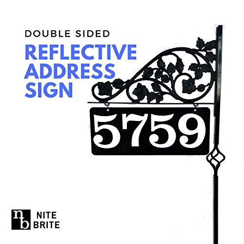 Reflective Driveway Marker Address Sign - Double Sided House Number Sign with 32