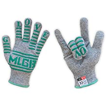 MLGB Cut Resistant Gloves W/Non-Slip Silicone Blocks , Food Grade -For Kitchen,Wood Carving,Carpentry,Camping. Size Large