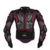 HEROBIKER Motorcycle Full Body Armor Jacket spine chest protection gear Motocross Motos Protector Motorcycle Jacket 2 Styles (L, Red)