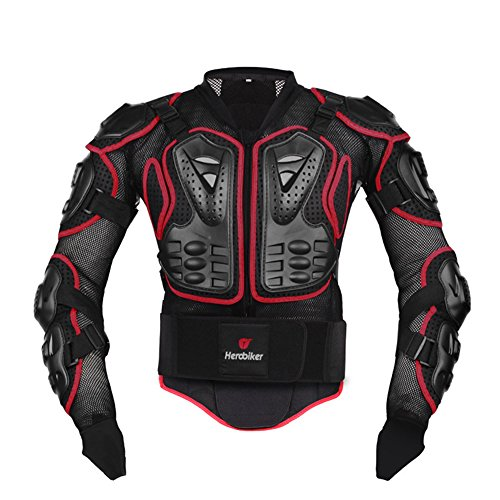 HEROBIKER Motorcycle Full Body Armor Jacket spine chest protection gear Motocross Motos Protector Motorcycle Jacket 2 Styles (L, Red) - Jersey Mesh Ride