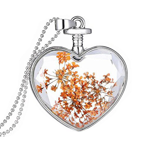 Women Dry Flower Heart Glass Wishing Bottle Pendant Necklace by TOPUNDER - Flowers Jade Necklace