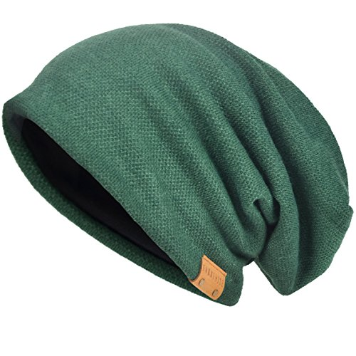 - VECRY Men's Cool Cotton Beanie Slouch Skull Cap Long Baggy Hip-hop Winter Summer Hat (Green)