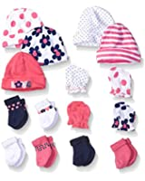 Gerber Baby Girls' 15 Piece Socks, Caps, and Mittens Essential Gift Set