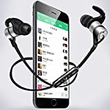 Bluetooth Headphones Water-proof Wireless 4.1 Noise Cancelling Stereo Earphones Secure Fit for Sports with Built-in Mic (Space Grey)