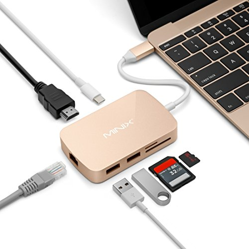 Data Cables MINIX NEO C 7 in 1 USB-C / Type-C to 2 x USB 3.0 + HDMI + Gigabit Ethernet Port + SD(HC) + Micro SD Card Reader Adapter ( Color : Gold ) by HN Cables (Image #5)