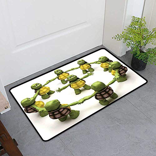 TableCovers&Home Welcome Front Mat, Reptile Indoor Doormats for Bedroom, Ninja Turtles Dancing Tortoise Team Relax Fun Happiness Childhood Kids Print (Green White Brown, H24 x ()