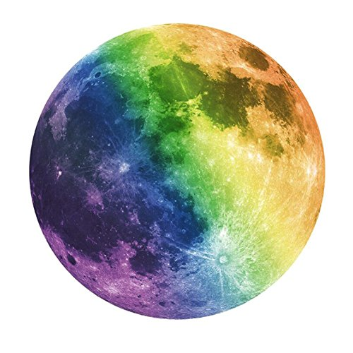 Beautyonline Glow in The Dark Moon Wall Decals 20cm Wall Sticker Luminous Sticker at Night Removable Adhesive Wall Decal for Kids Boy and Girl Bedroom