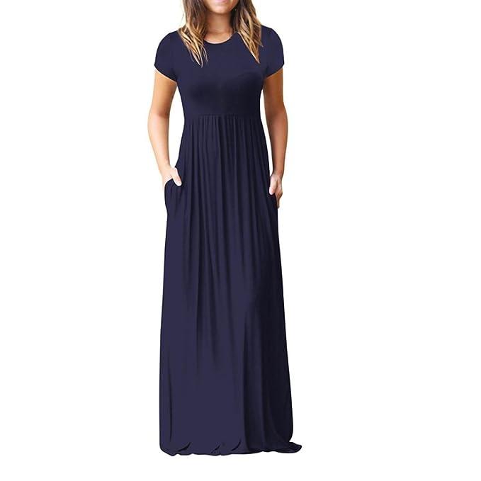 Vestido largo de mujer,Las mujeres O cuello bolsillos ocasionales de manga corta