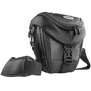 Mantona Premium - Funda para cámara reflex (correa para hombro, cierre de cremallera y clip), color gris oscuro