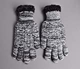 Black White lined gloves faux fur knit stretch gloves winter super warm ladies