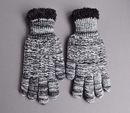 Black White lined gloves faux fur knit stretch gloves winter super warm ladies by RIX Women's Luxury