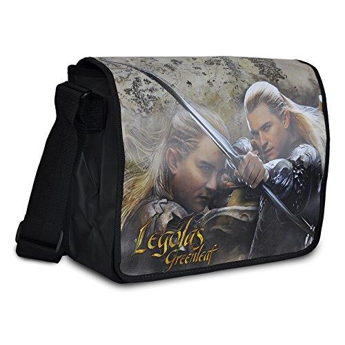 Lo Hobbit - Borsa tracolla con stampa di Legolas Verdefoglia - Messenger Bag con licenza originale del film - 38x30cm