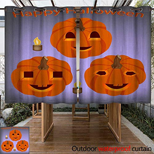 RenteriaDecor Outdoor Balcony Privacy Curtain Halloween Pumpkins Decorated for Halloween Holiday Vector Illustration for Postcard or Poster of Halloween W55 x -