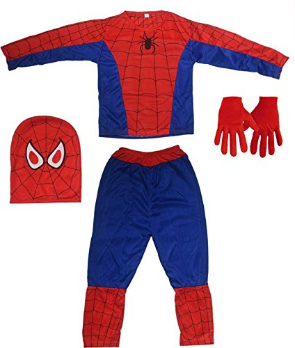 b8a7b646f8de3 Buy Fancyflight Boy's Spiderman Dress with Gloves, Mask Halloween Costume  (Red and Blue, 3-4 Years) Online at Low Prices in India - Amazon.in