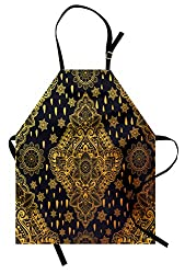 Ambesonne Mandala Apron Bohemian Paisley Ornament Henna Tattoo Ethnic Tribal Vintage Design Unisex Kitchen Bib Apron With Adjustable Neck For Cooking Baking Gardening Charcoal Grey Mustard